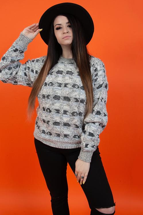 Geometric 1990's Black & White Pullover Sweaters
