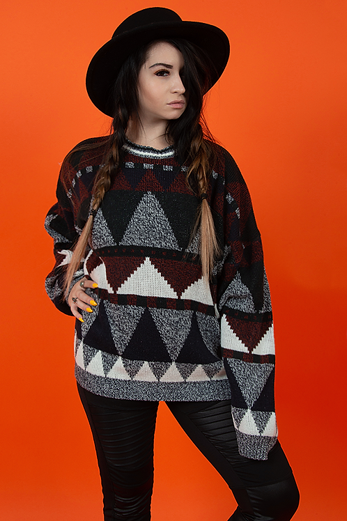 1990's Geometric Triangle Pullover Sweater