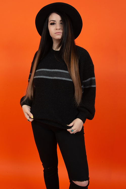 Black 1980's Stripe Knit Pullover Sweater