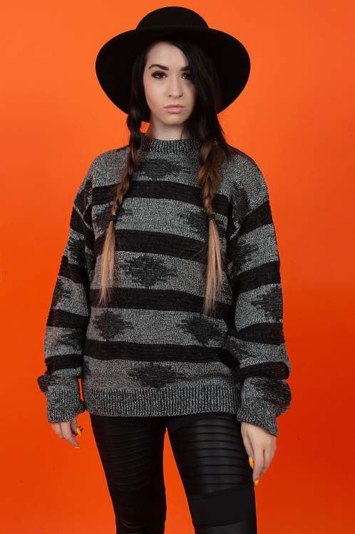 1980's Black & Grey Bohemian Printed Knit Sweater
