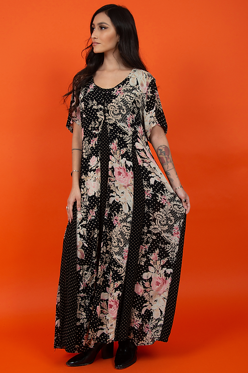 Floral Gauze Printed 1990's Indian Nostalgia Dress