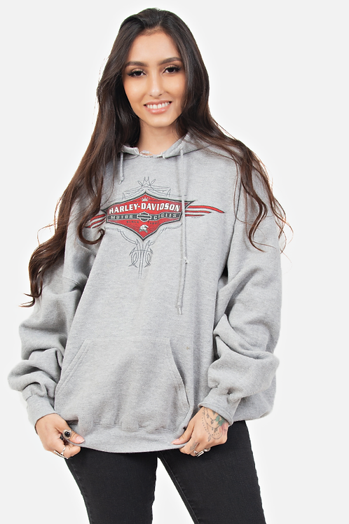 vintage early 2000's grey harley davidson pull over sweatshirt
