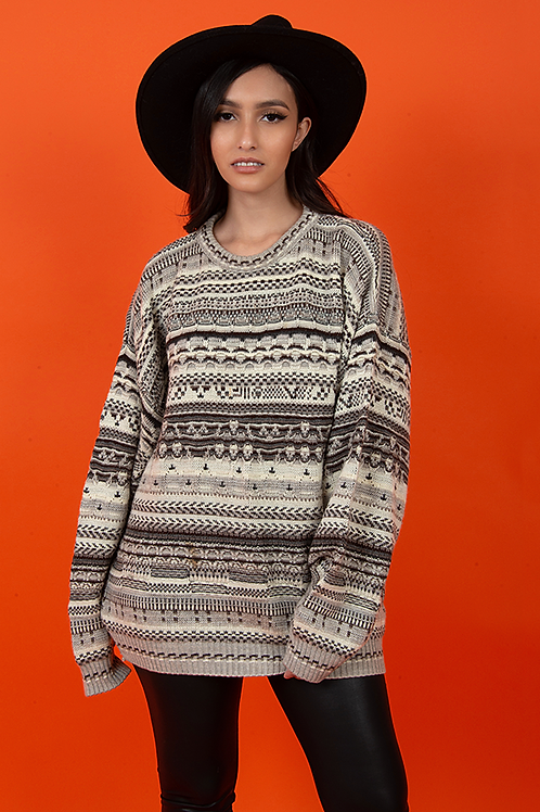 Abstract 1990's Coogie Style Knit Pullover Sweater