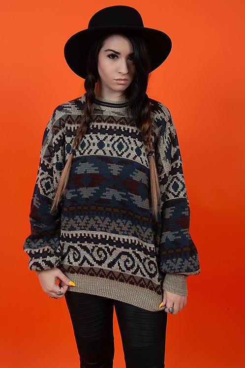 1980's Oversized Bohemian Printed Aztec Knit Sweater