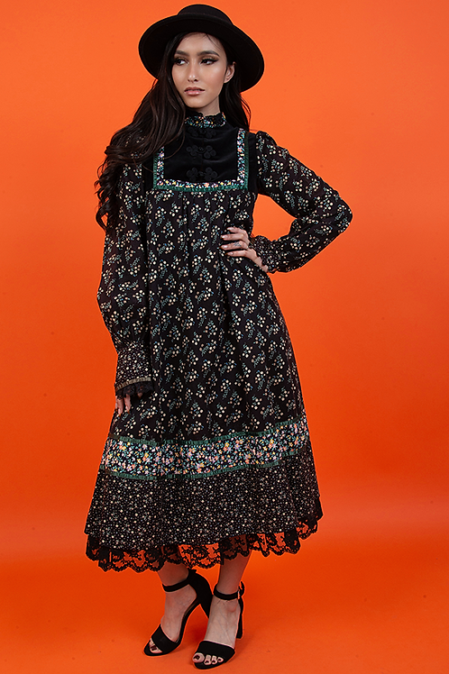 1970's Black Floral Gunne Sax Dress