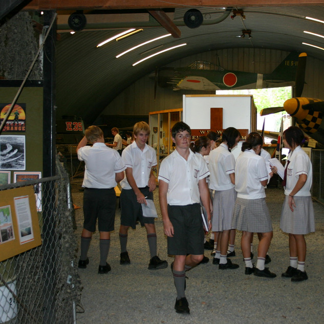 Students enjoy the displays in the hangar
