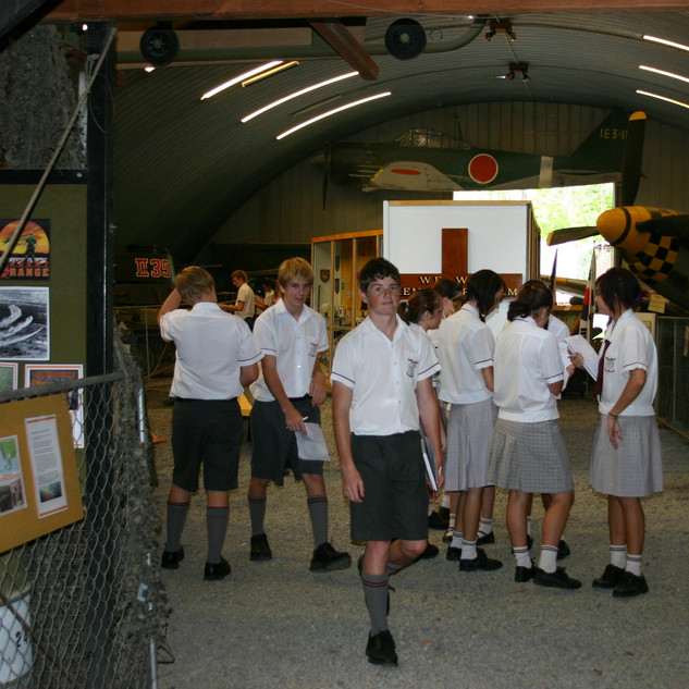 Students enjoy the displays in the hangar
