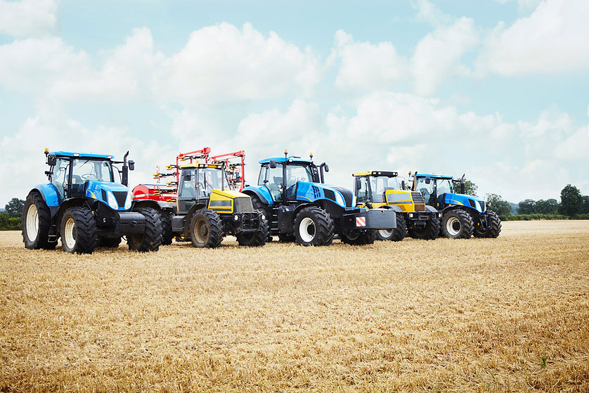 Tractors Parked in the Crop Field
