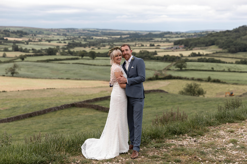 Couples portrait with a moorland backdrop