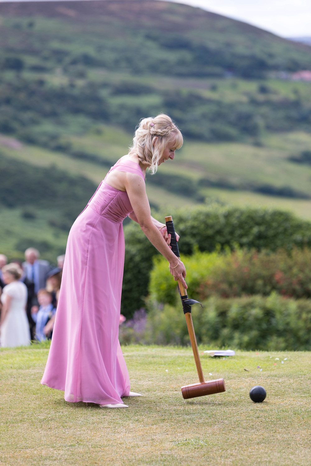 wedding photography of wedding guest having fun