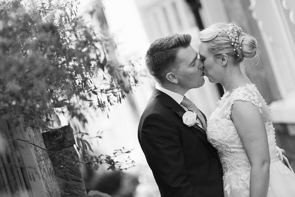Bride & groom portrait in black & white