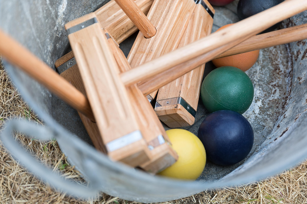 Detail photo of a croquet set for the wedding guests