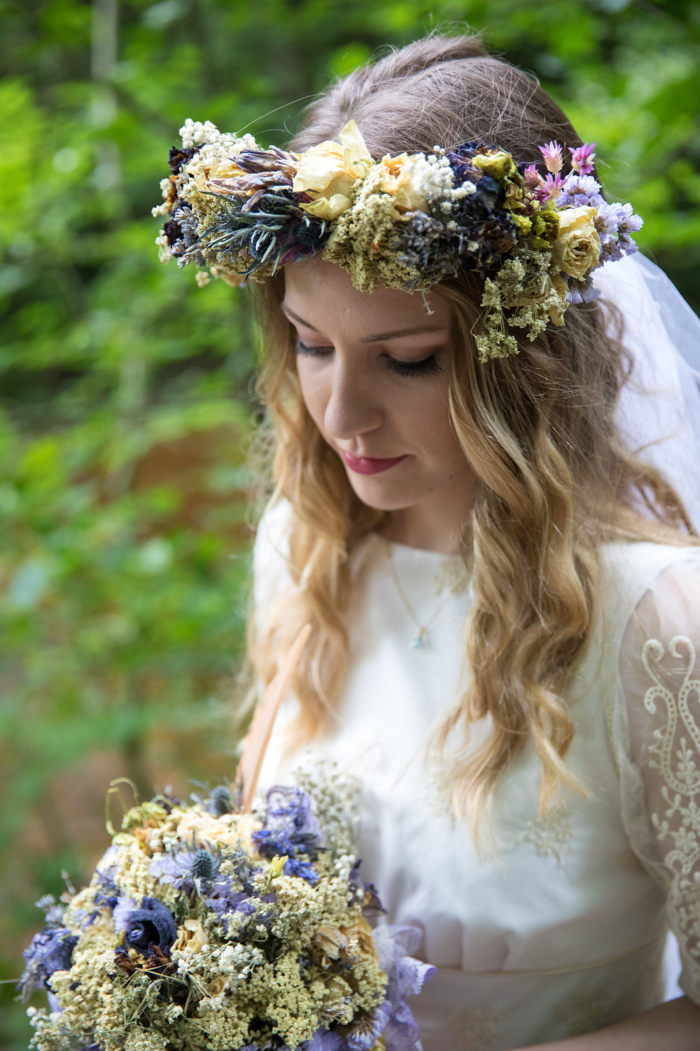 Wedding photography of bride's flower crown