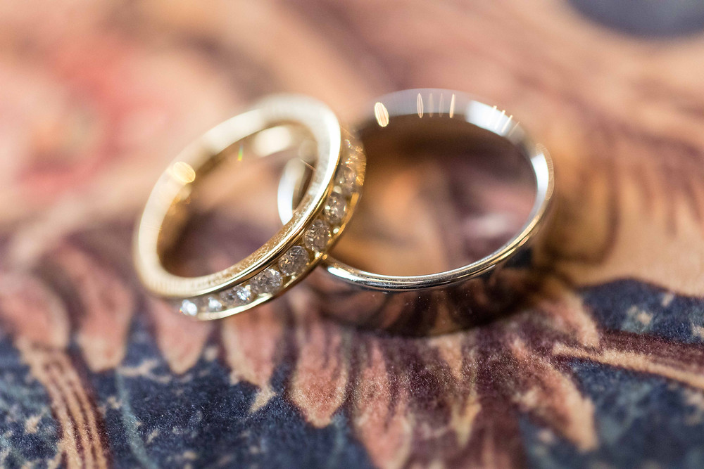 Close up shot of the wedding rings
