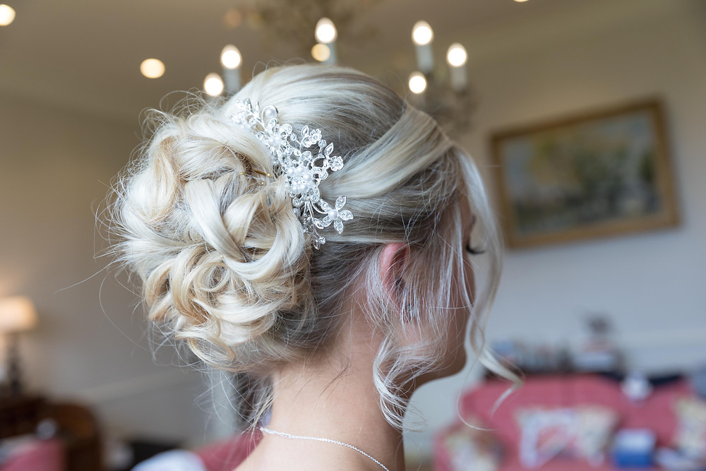 Wedding photograph of a bridesmaids hair