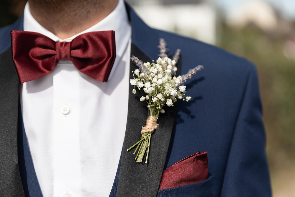 Close up of the Groom's suit