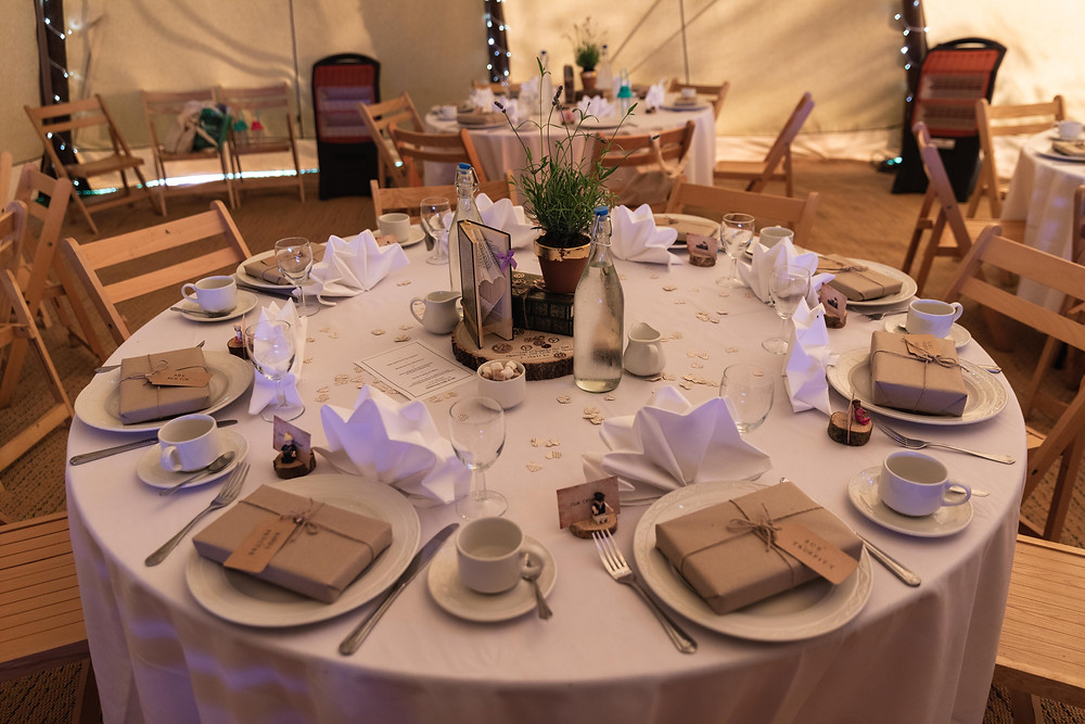 Wedding photography of the reception room