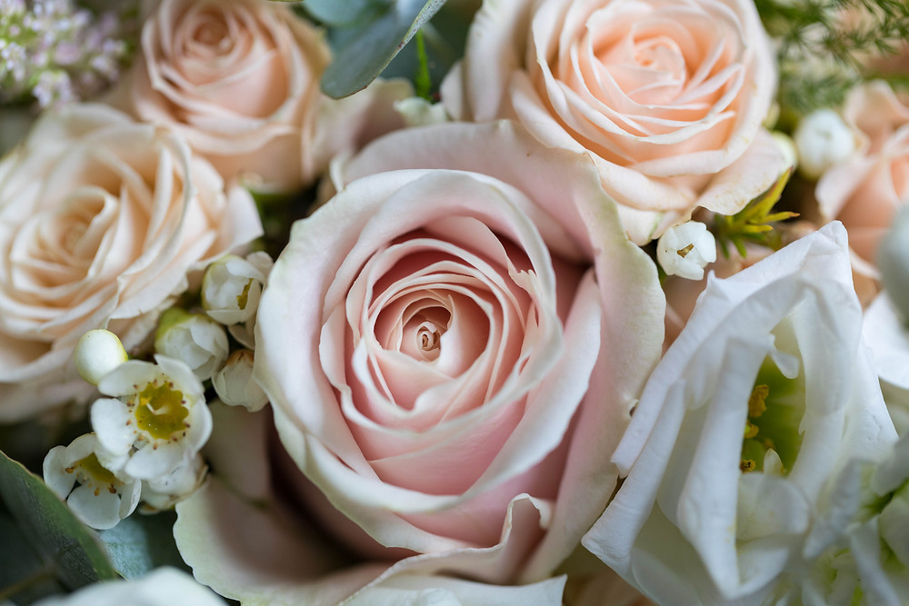 Detail shot of brides flowers
