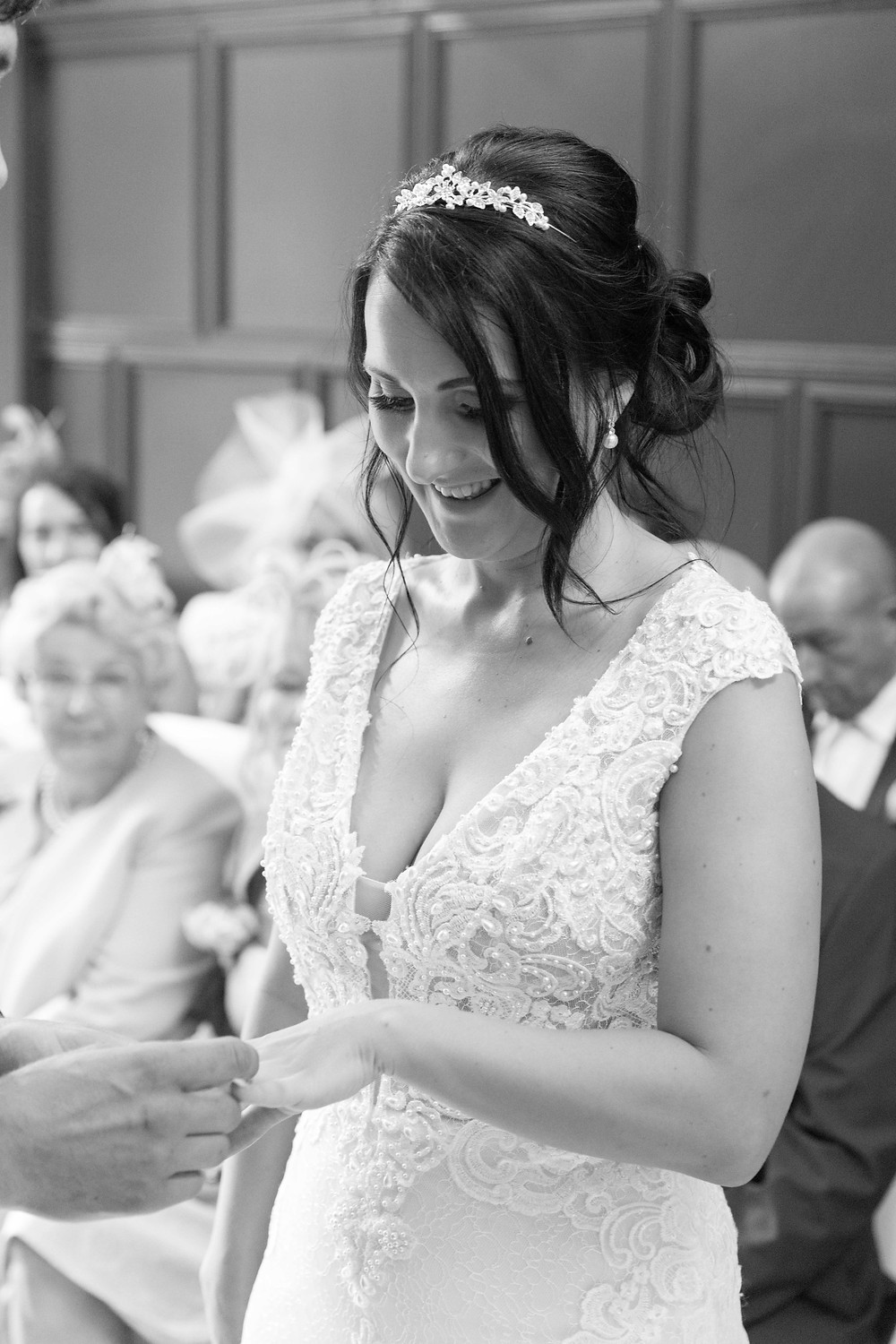 The bride during the ceremony by North yorkshire photographer
