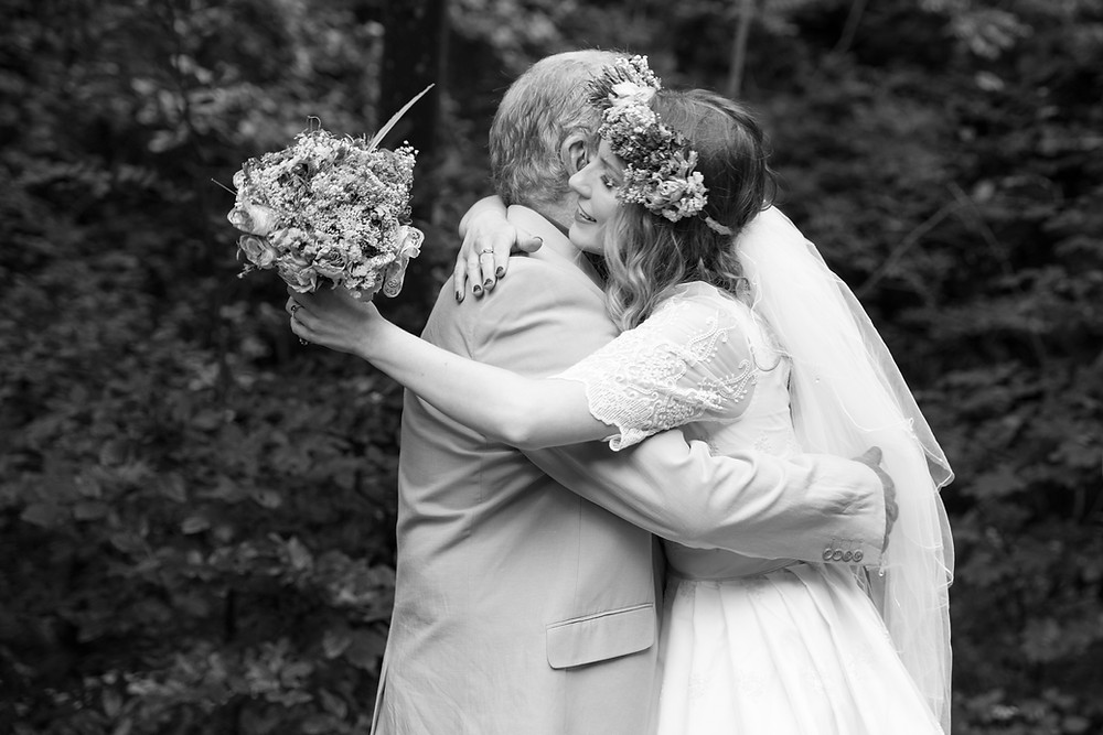 Beautiful image of bride & her father by Whitby wedding photographer