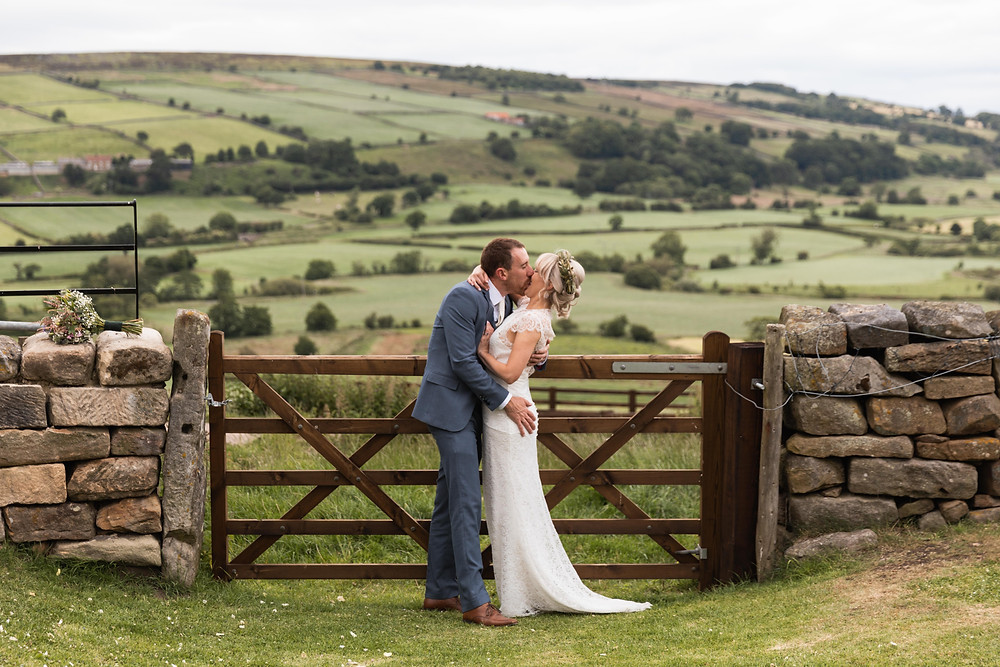 The bride and groom with a stunning view