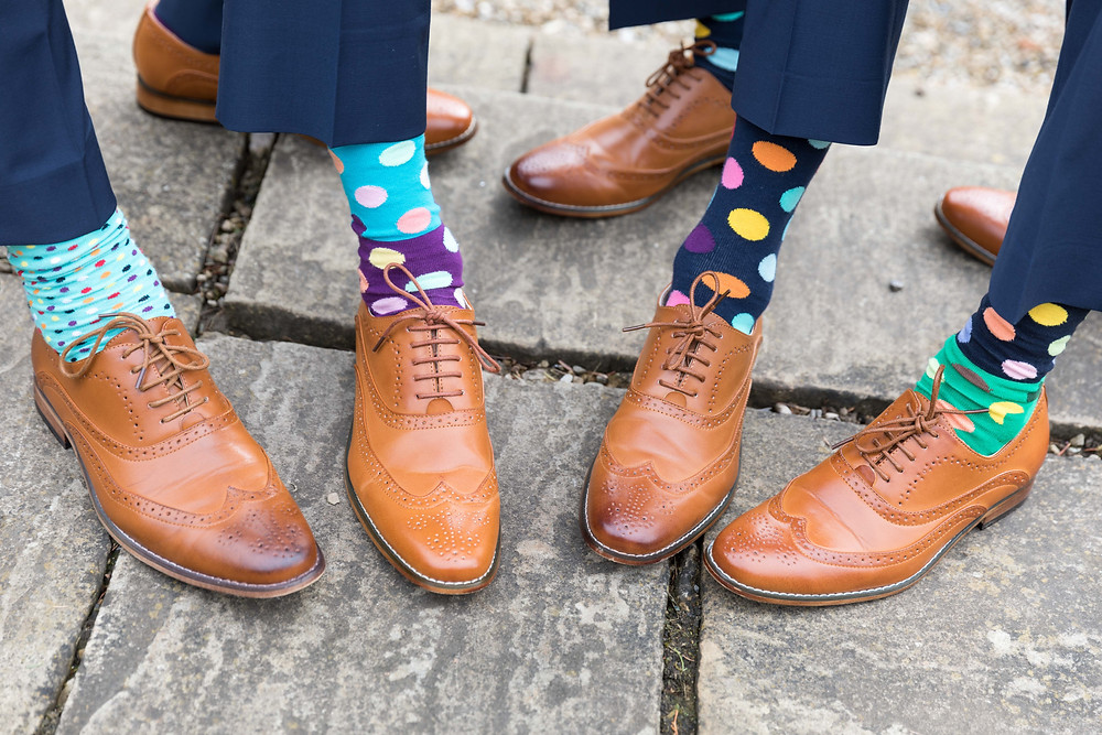 Wedding photography: wedding socks worn by the groom