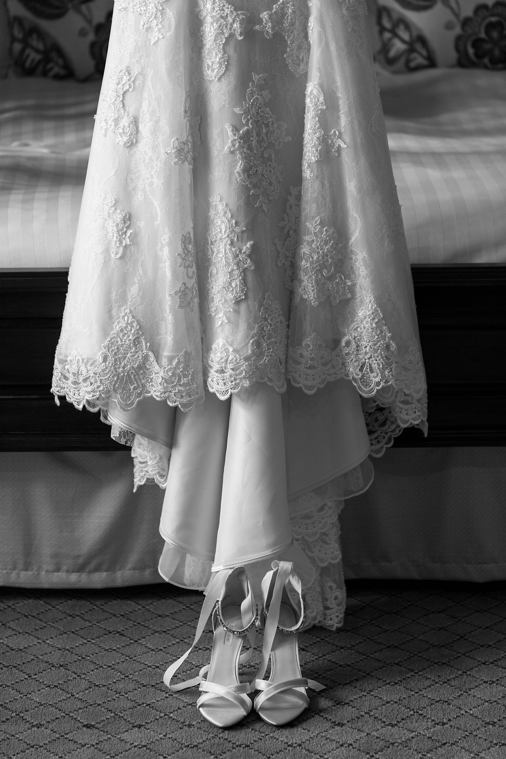 Close up photograph of the brides dress
