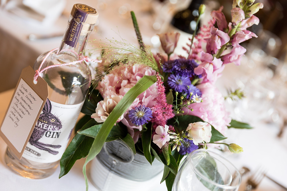 A detail shot of the table settings at the wedding reception