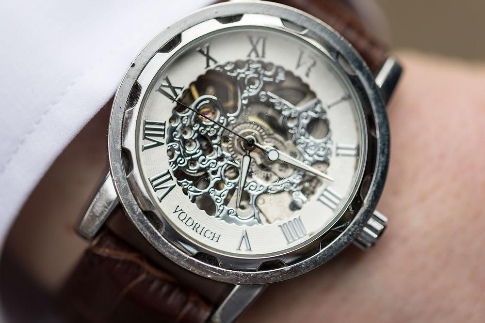 Wedding photograph of the Groom's watch
