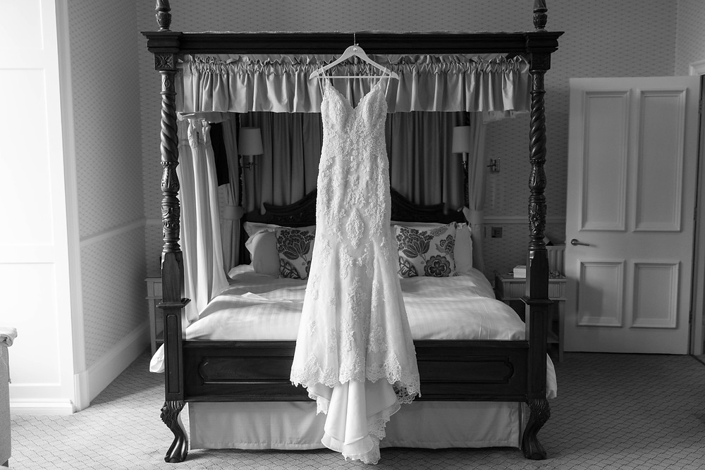 The brides dress hung up