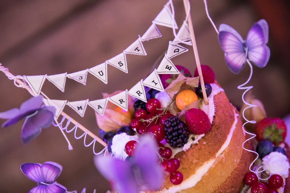 An image of the wedding cake by whitby wedding photographer Jack Cook