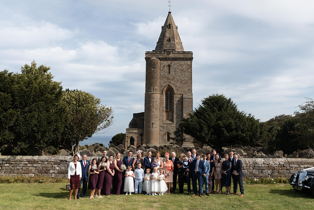 Wedding family photo by Whitby wedding photographer