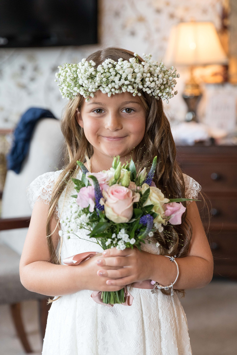 The flower girl capture by Whitby wedding photographer