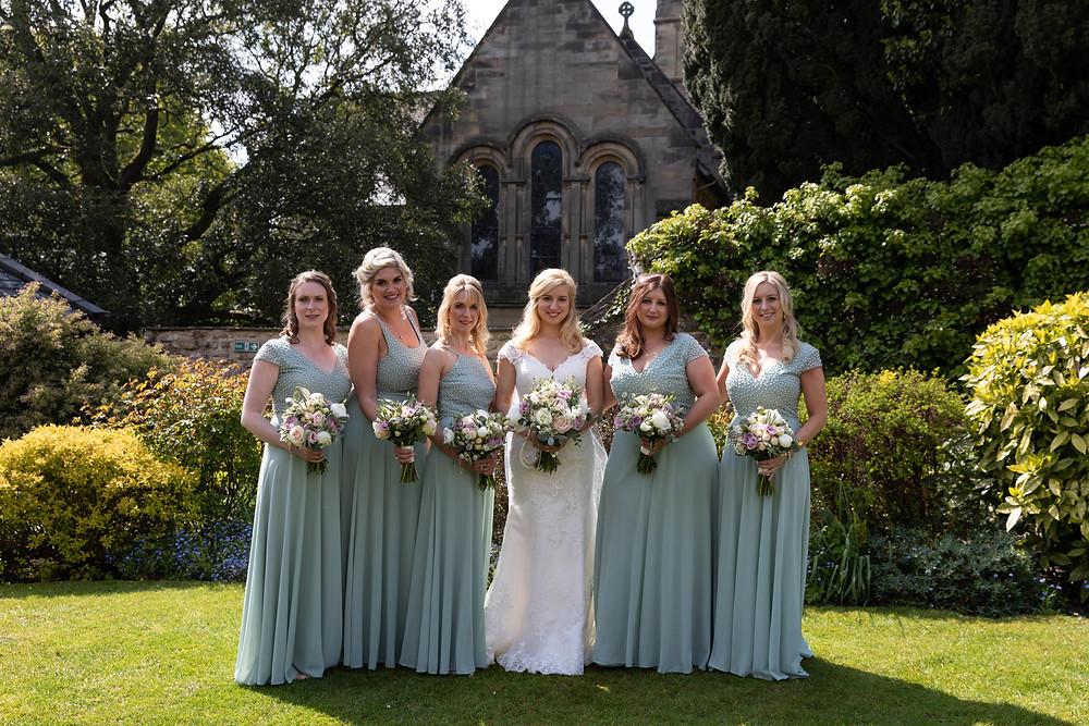 Wedding portrait of the bride & bridesmaids