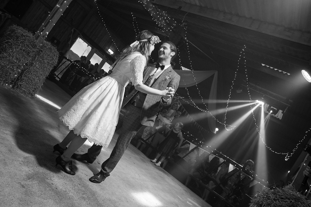 A wedding photo of the first dance by Yorkshire wedding photographer
