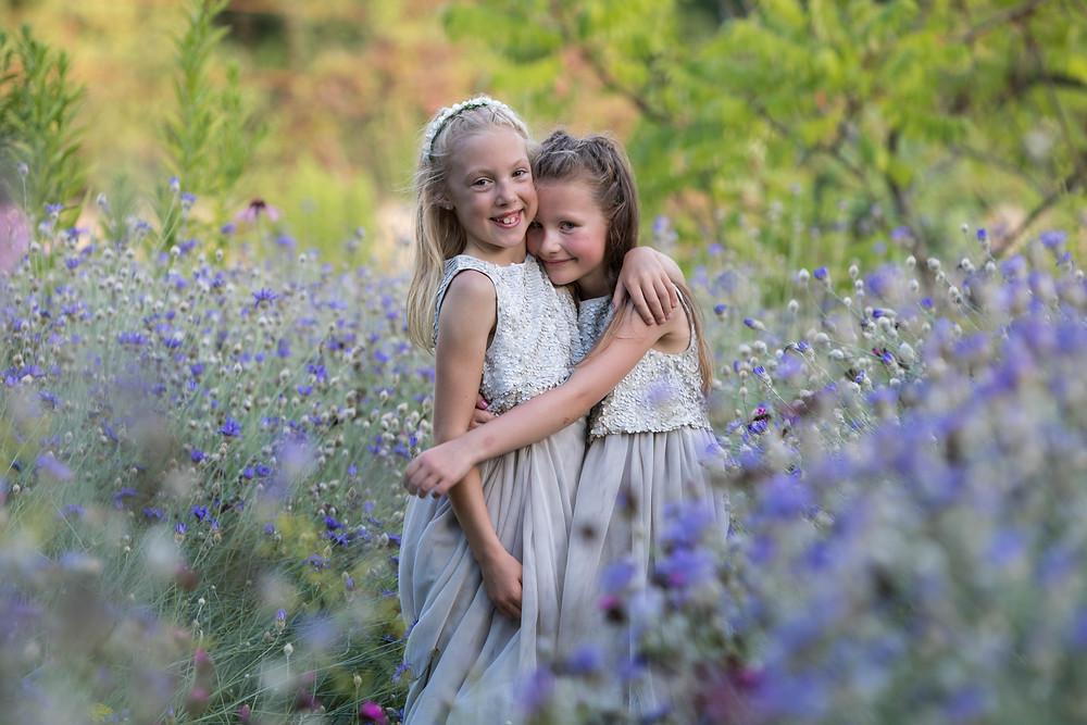 Wedding portrait of the flower girls