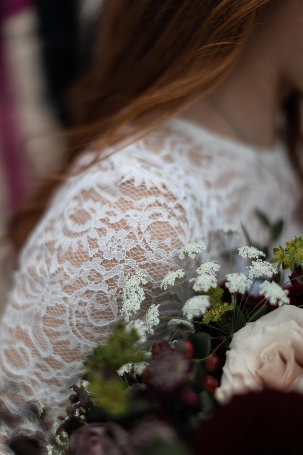 Detail shot of the bride's dress