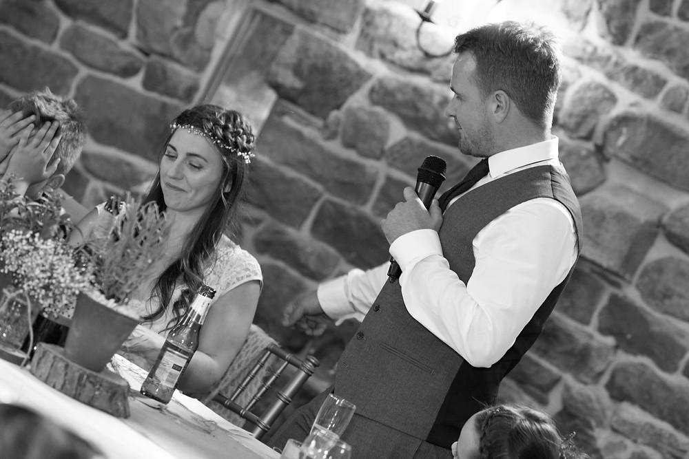 wedding photo of the grooms speech