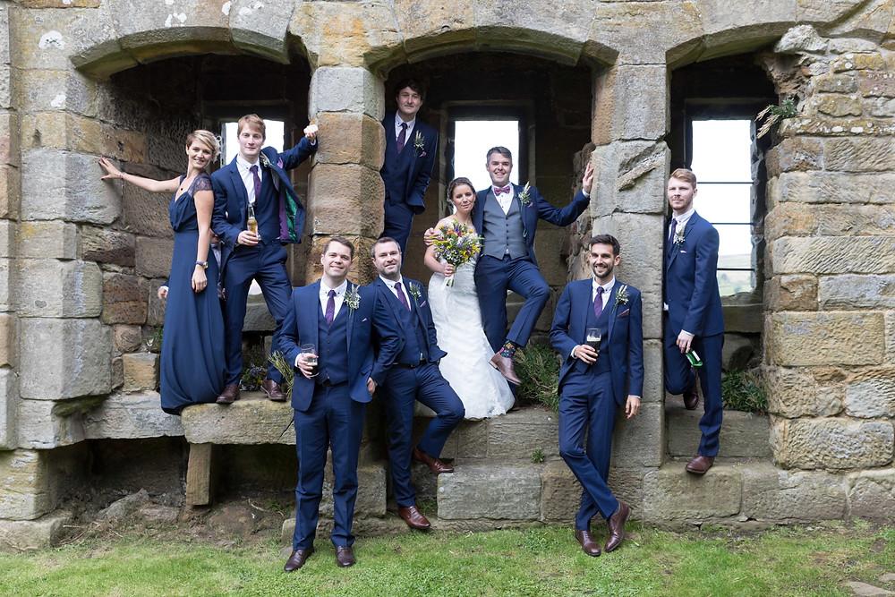 Group wedding photo of the bridal party