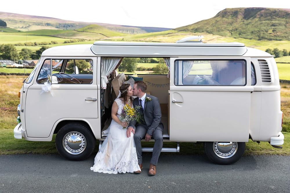 Wedding photographer Whitby captures bride & Groom in VW