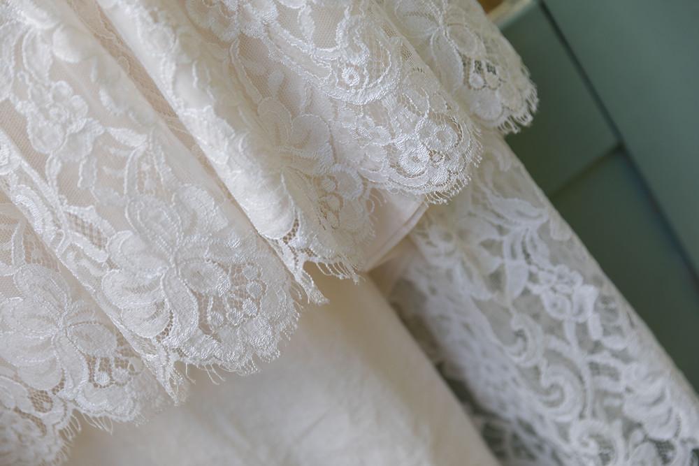 Wedding photograph: close up of the wedding dress