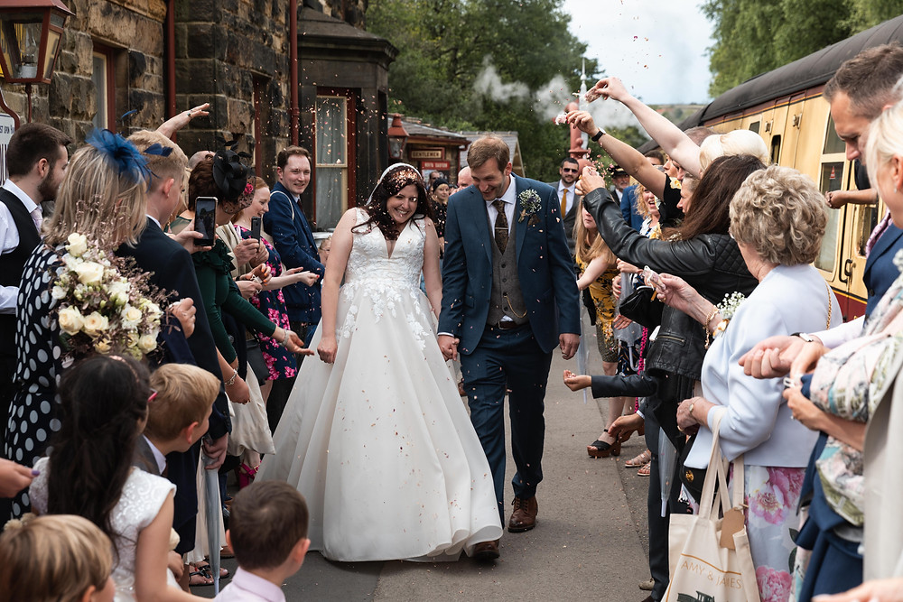 Wedding photographer Whitby captures confetti photograph