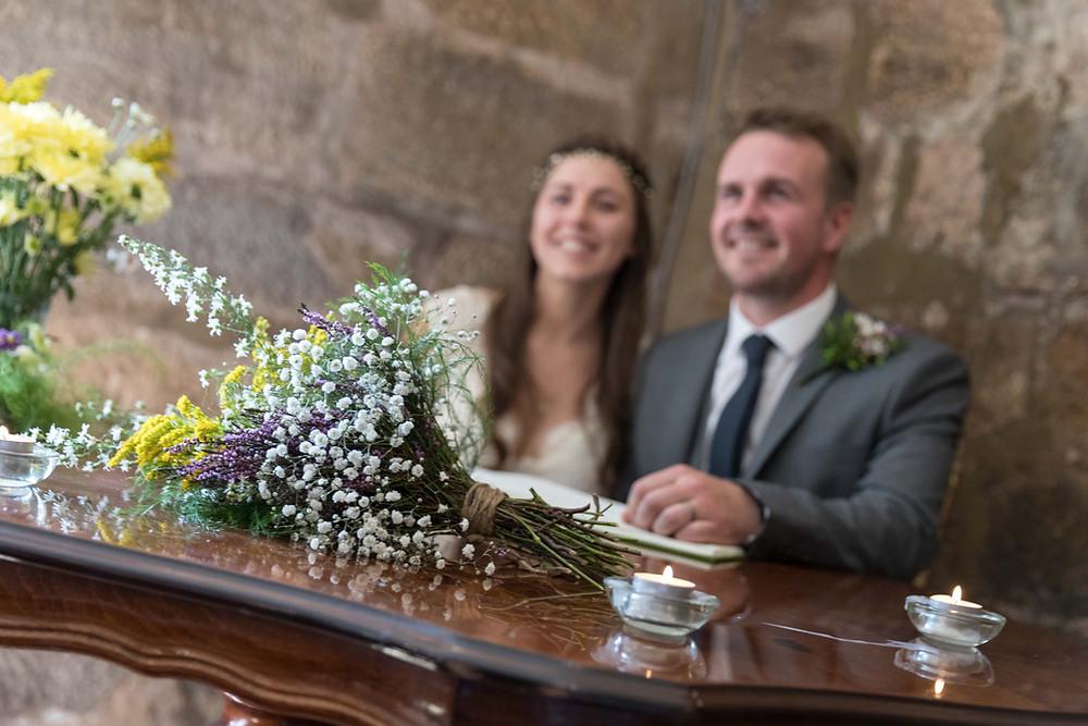 Detail shot of the brides bouquet