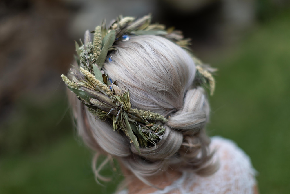 Close up of the Bride's hair and crown