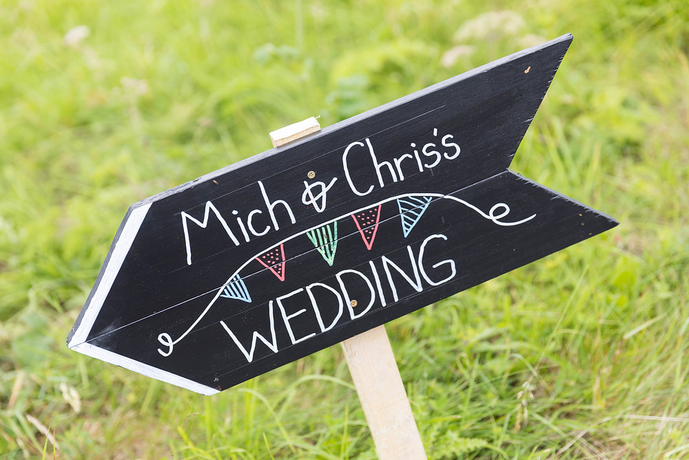 Wedding photo of sign post to michelle & Christians wedding