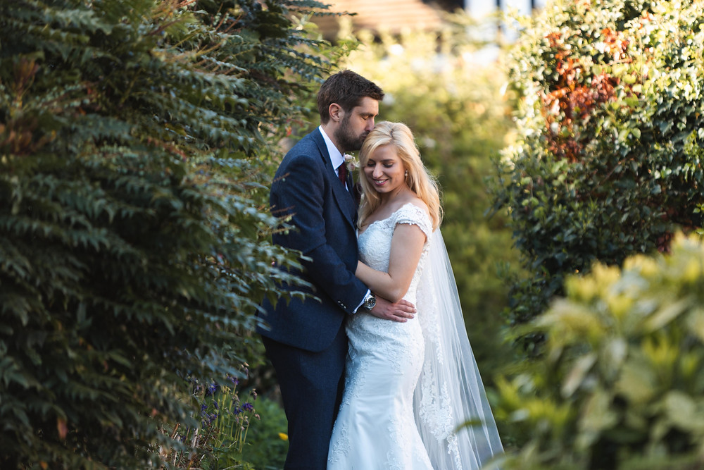 The bride & groom in the sunshine