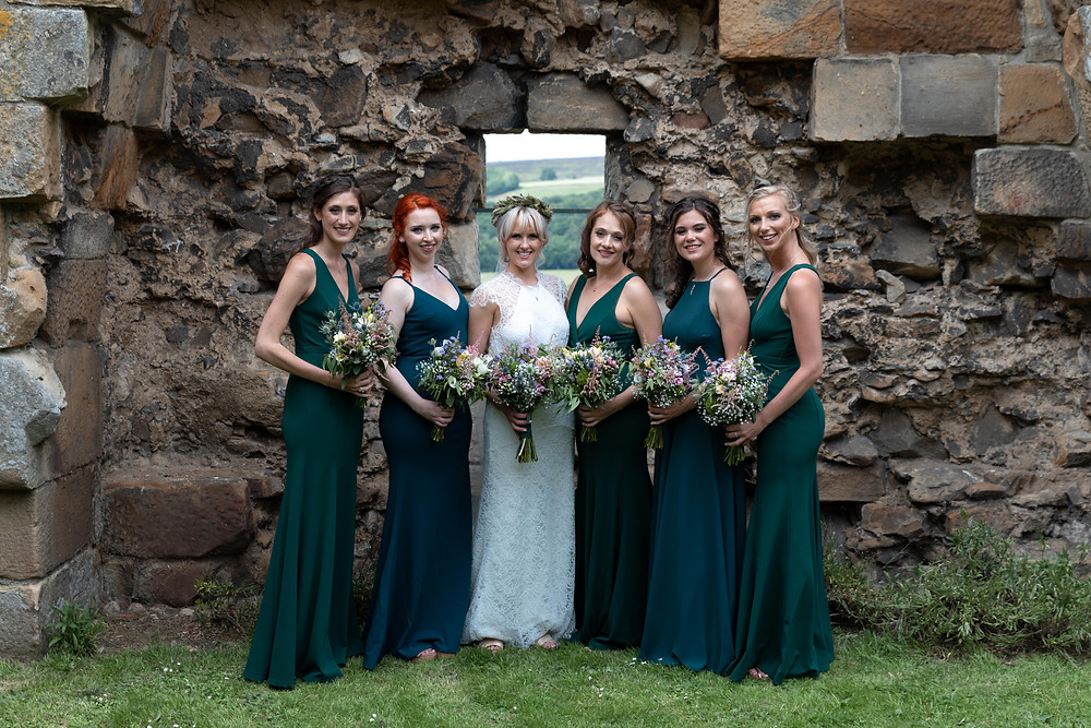 Group shot of the bride and bridesmaids
