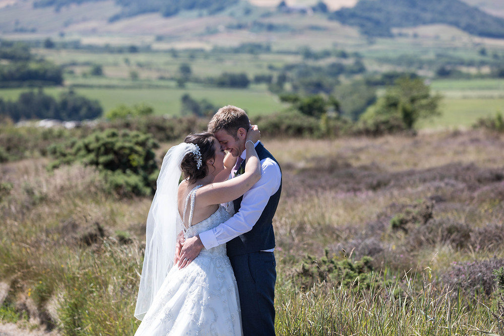 Portrait of the Bride & Groom in the Work Yorkshire Moors