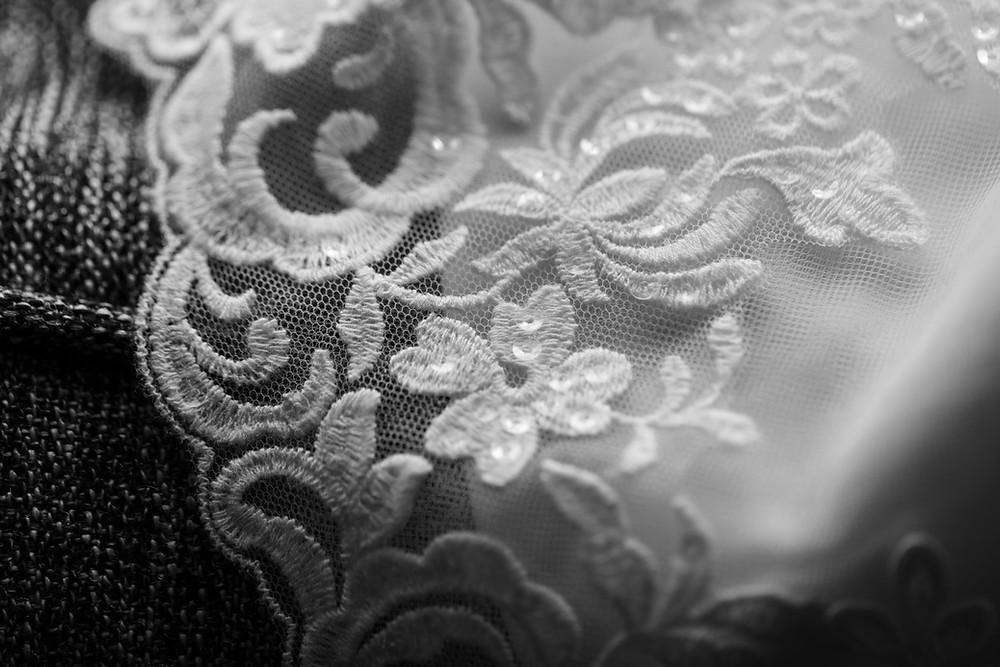 Black & white photograph of the wedding dress