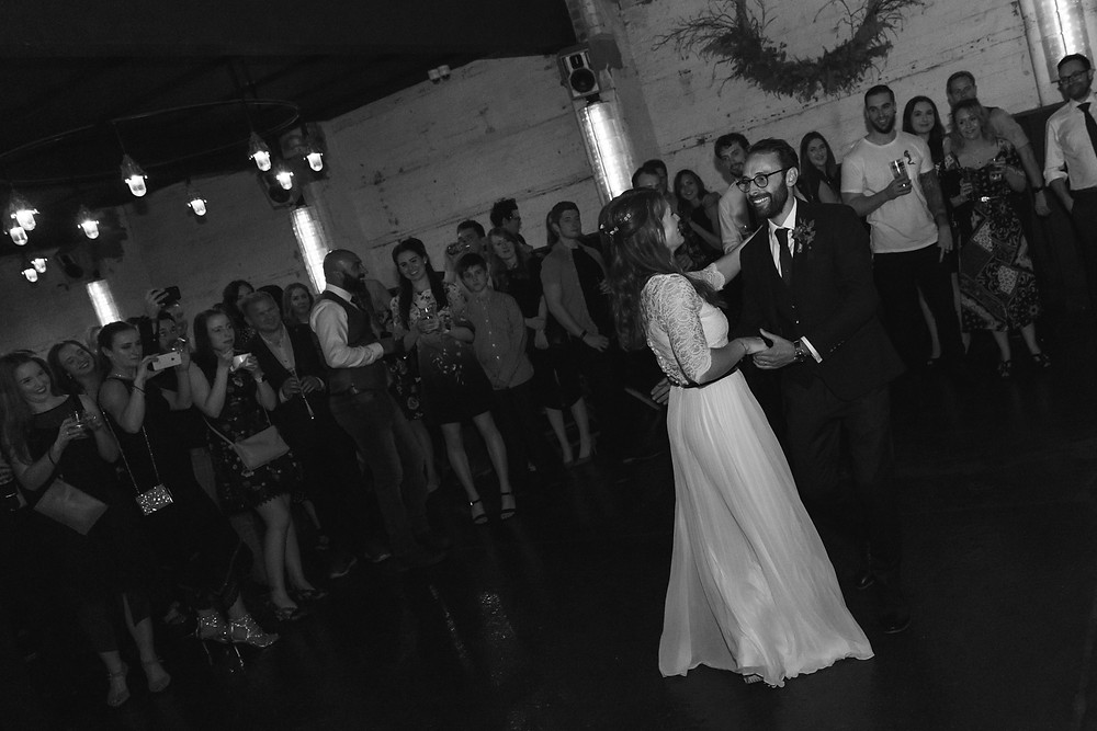 The first dance in black and white